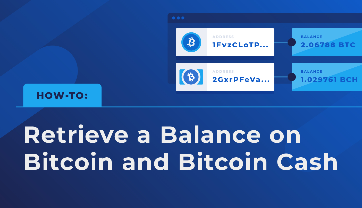 How-to: Retrieve a Balance for Bitcoin and Bitcoin Cash Addresses